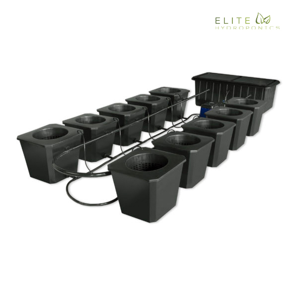 10-Site Bubble Flow Buckets Hydroponic Grow System