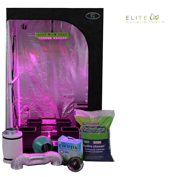 Oasis 3'x3' - 4 Plant LED Hydroponics Grow Tent System