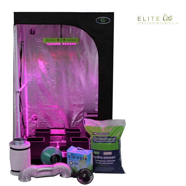 Oasis 4'x4' - 4 Plant LED Hydroponics Grow Tent System